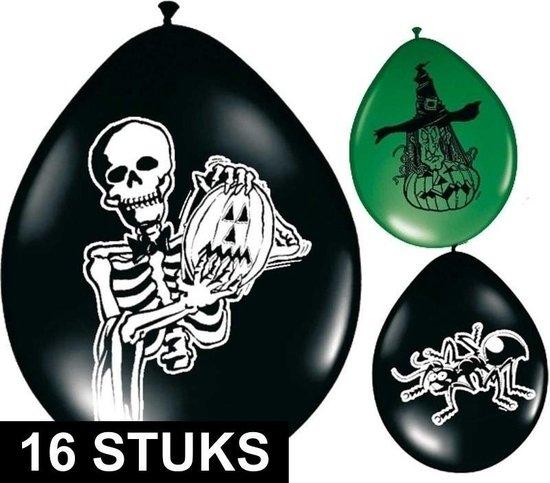 16x Griezel horror thema ballonnen groen/zwart - Halloween feestartikelen decoratie en versiering