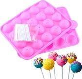 Siliconen Cakepop Bakvorm - Pop Cake Maker Met Stokjes - 20 Gaatjes
