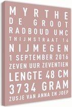 Geboorte tekst canvas - oud roze - 30x45cm