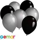 30x Ballonnen Zwart en Zilver (Ook geschikt voor Helium)