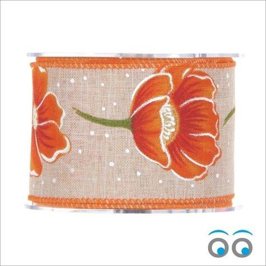 Tulp Lint Oranje - jute met draad (10 meter)