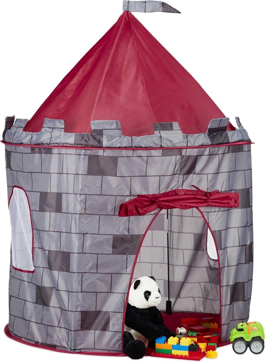 relaxdays speeltent kasteel - kindertent jongens - kasteeltent kinderkamer grijs speelhuis