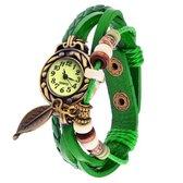 Fako® - Armband Horloge - Blad - Lichtgroen