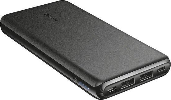 Trust - Esla Powerbank   10.000 mAh   dun formaat   2.4A snelladen   2x USB   USB-C   Micro-USB   Zwart