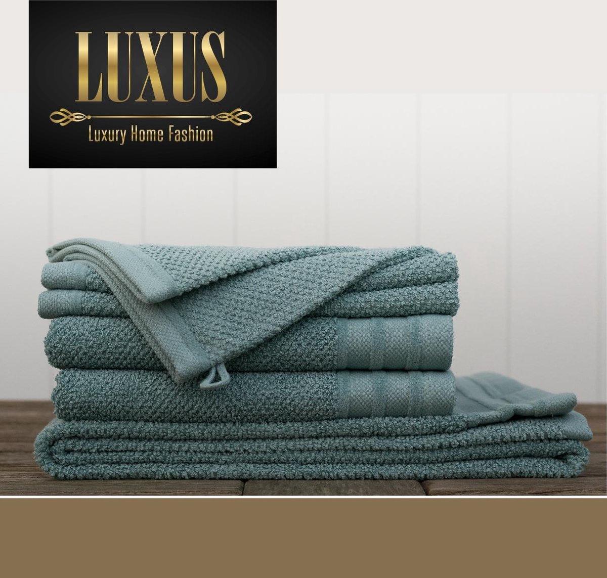 Handdoekenset 7 stuks Groen  - 2 ruime washandjes 16x 21 cm - 2 gasten- of gezichtsdoekjes 30 x 50 cm - 2 handdoeken 50 x 100 cm - 1 badlaken 70 x 140 cm - LUXUS