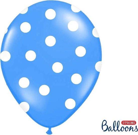 Ballonnen blauw met dots 10 stuks