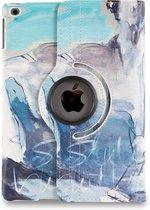 Apple iPad Hoes - 360° Draaibaar - Voor de iPad Air 2 - Kunst Abstract Artistiek 'Lichtblauw en Grijs' - Uniek Design