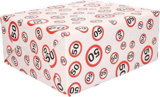 Inpakpapier 50 jaar verkeersborden print - 300 x 70 cm - kadopapier / cadeaupapier - Shoppartners