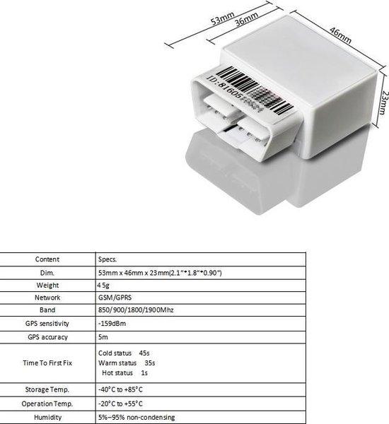 GPS tracker - Auto OBD2 poort