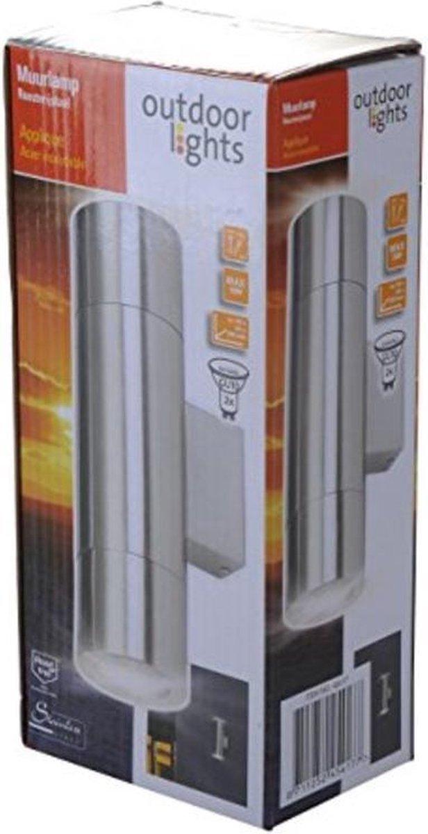 Outdoor Lights - Wandlamp - Buitenverlichting - INOX - 2 LED - GU10 - 90 x 60 x 202 mm - max. 50 W - Merkloos