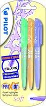 Pilot Frixion markeerstift set van 3 soft pastel groen, oranje, violet