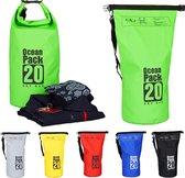 relaxdays Ocean Pack 20 liter - waterdichte tas - strandtas - zeilen - outdoor plunjezak groen