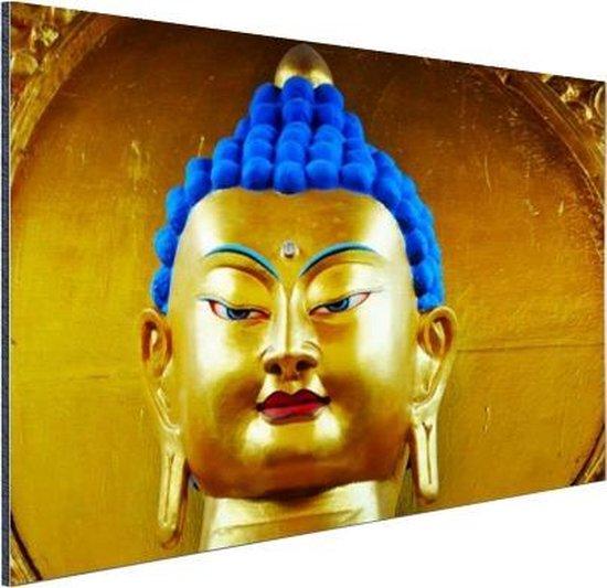 Goud met blauw Boeddha beeld Aluminium 90x60 cm - Foto print op Aluminium (metaal wanddecoratie)