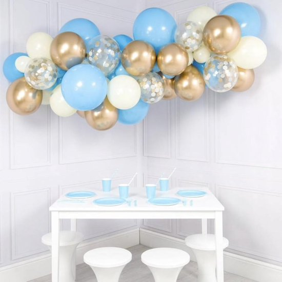 Luxe Ballonnen Boog Blauw, Chrome Goud & Wit - 41 Stuks – Confetti HeliumBallonnen -Party Decoratie Thema Feest Ballonnenboog