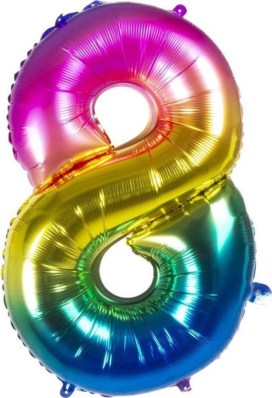 Boland Folieballon Cijfer 8 Latex Regenboog 86 Cm