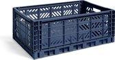 HAY Colour Crate L Navy Vouwkrat L60 X B40 X H22