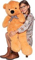 MaxxHome Teddybeer - Knuffelbeer - 100 cm - Lichtbruin - Zacht pluche