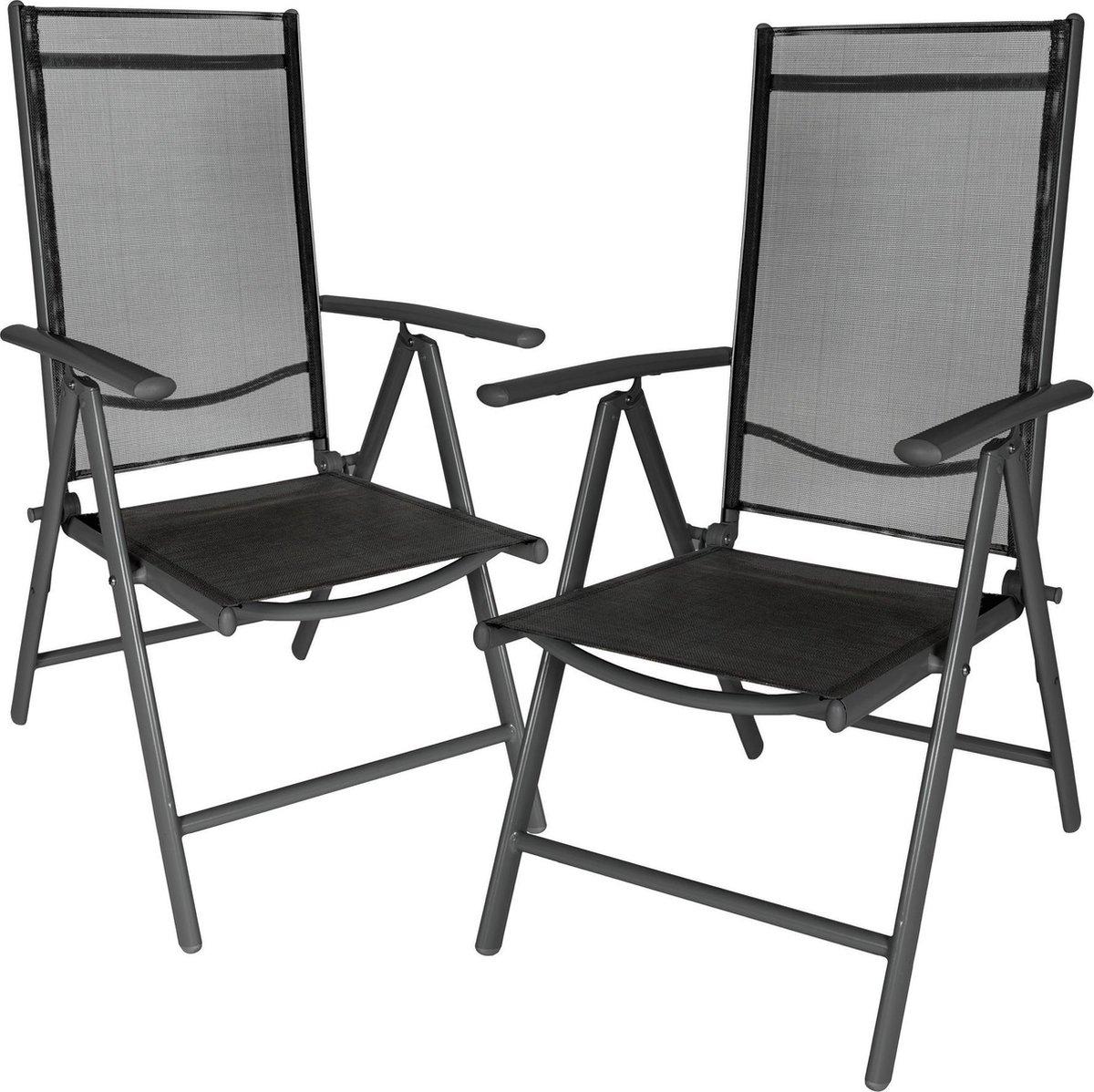 Aluminium tuinstoel  set van 2 stuks - tuin stoel antraciet - zwart