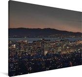 Oakland in de Verenigde Staten tijdens de nacht Canvas 60x40 cm - Foto print op Canvas schilderij (Wanddecoratie woonkamer / slaapkamer)