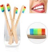 Bamboe Tandenborstel | Regenboog | 4 Stuks | Recyclebaar en Biologisch Afbreekbaar | Zacht / Medium | Voor Gevoelig Tandvlees