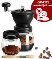 Premium Koffiemolen – Handmatige Koffiemolen Keramische Koffiebonen Koffiemaler Bonenmaler – Inclusief Glazen Opbergpot, Schoonmaakkwast & 10 Koffie Sjablonen – Superiox™