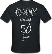 Mijncadeautje T-shirt - Abraham eindelijk 50 jaar - unisex - Zwart (maat 3XL)