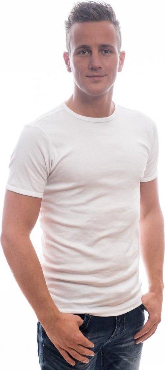   Petrol Basic T Shirt Wit Ronde hals 4 pack M