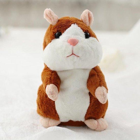 Pratende hamster| Sprekende hamster|Talking hamster|Interactieve hamster|Interactieve knuffel|Napratende knuffel|Bruin