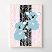 Postercity - Design Canvas Poster 2 Koala's Roze / Kinderkamer / Dieren Poster / Muurdecoratie / 40 x 30cm / A3