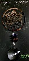 Nature's Melody Spinner COSMO HANGER Mandala 9.5cm MET CRYSTAL SUNDROP kristal glas eronder 45CM De lengte is gemeten van de ophangdraad tot en met de onderkant van het glas.