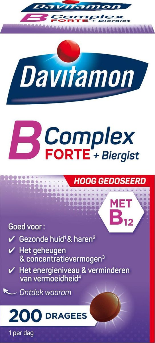 Davitamon vitamine B-Complex Forte met Biergist en vitamine B12 - 200 Tabletten