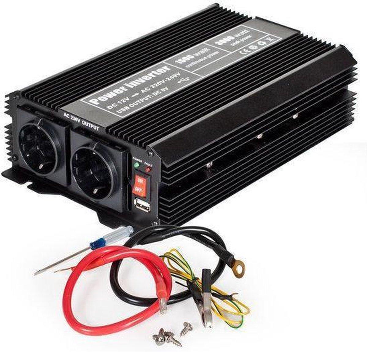 TecTake Spanningsomvormer - van 12V naar 230V 1500 Watt continue - 3000 Watt kortstondig - 400977