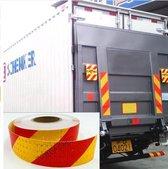 Reflectie tape - Veiligheids stickers voor verkeer - vrachtwagen, motor, aanhangwagen, evenementen etc. Rol van 10 meter reflecterend tape in rood/geel