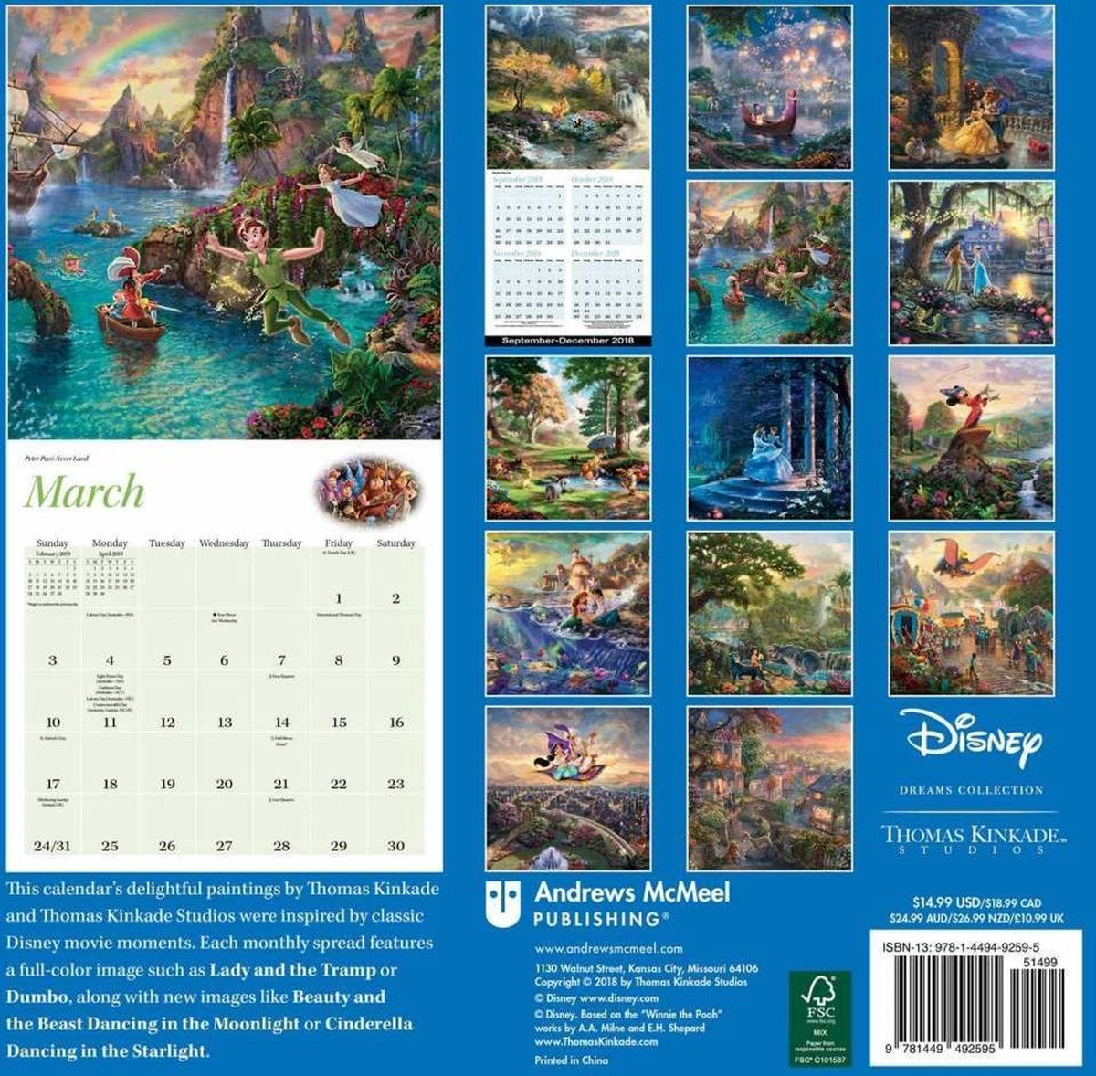 Thomas Kinkade Disney Dreams Kalender 2019 - Kinkade, Thomas