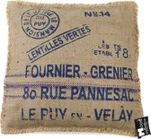 In The Mood Vintage Fournier Blue Jute - Sierkussen - 45x45 cm - Blauw