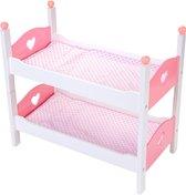 Houten stapelbed voor babypoppen - Wit & Roze - 50,5 x 27,5 x 43 CM