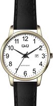 Q&Q dames horloge goudkleurig/zwart met lederen band en datumaanduiding BL77J819