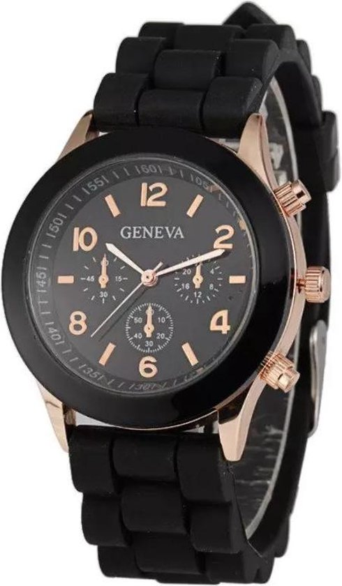Horloge – Geneva – Siliconen Candy – Zwart