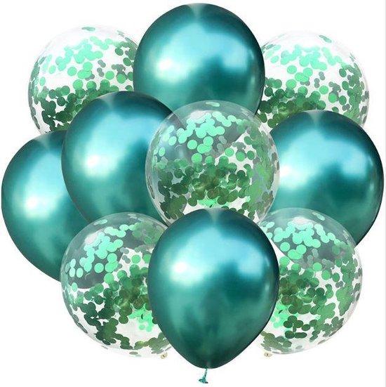 Confetti ballonnen Groen set 10 stuks!| 30 centimeter | Groene confetti ballonnen| Verjaardag of andere feesten