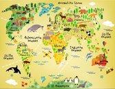Wereldkaart voor kinderen - zelfklevend - 170x132 cm