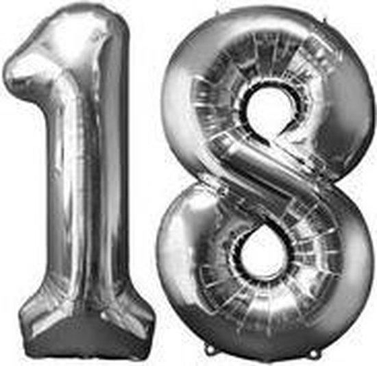 18 jaar | Cijfers | Zilver | 100 cm hoog | Folieballon | Feestversiering | Verjaardag | Versiering | Feest | Folieballonnen