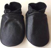 Leren baby slofjes  – zwart maat L