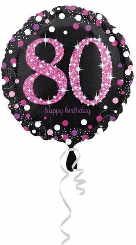 Helium Ballon 80 Jaar Roze 43cm leeg