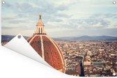 Luchtfoto van Florence met de koepel van de Dom van Florence Tuinposter 60x40 cm - klein - Tuindoek / Buitencanvas / Schilderijen voor buiten (tuin decoratie)