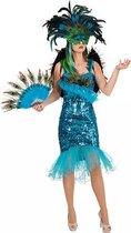 Pauwenveren glitterjurk verkleedkleding 40