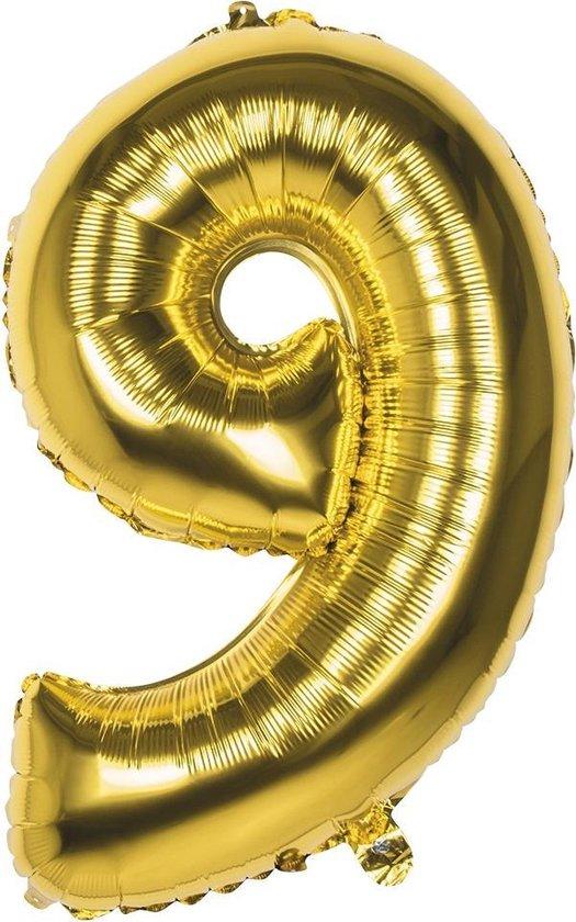 Boland Folieballon Cijfer 9 Latex Helium Goud 86 Cm