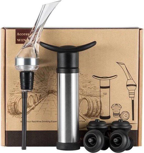 Wijn Accessoires Deluxe Set Giftbox | 6 delig - Wine Saver - Wijn Vacuüm Pomp - RVS Vacuum Wijnfles Pomp - 4 Wijnstoppers - Wijn Schenker - Wijn Beluchter - Wijn Decanter
