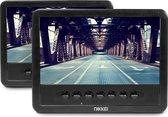 Nikkei NPD720MT - Draagbare Auto DVD speler Set met 2x 7-inch Schermen - Zwart
