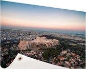 Uitzicht op de Akropolis Tuinposter 200x100 cm - Tuindoek / Buitencanvas / Schilderijen voor buiten (tuin decoratie) XXL / Groot formaat!