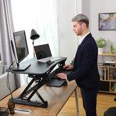 Ergonomisch In Hoogte Verstelbaar Sta Zit Bureau - Ergonomische Laptop/PC Tafel Werkplek Verhoger - Zwart